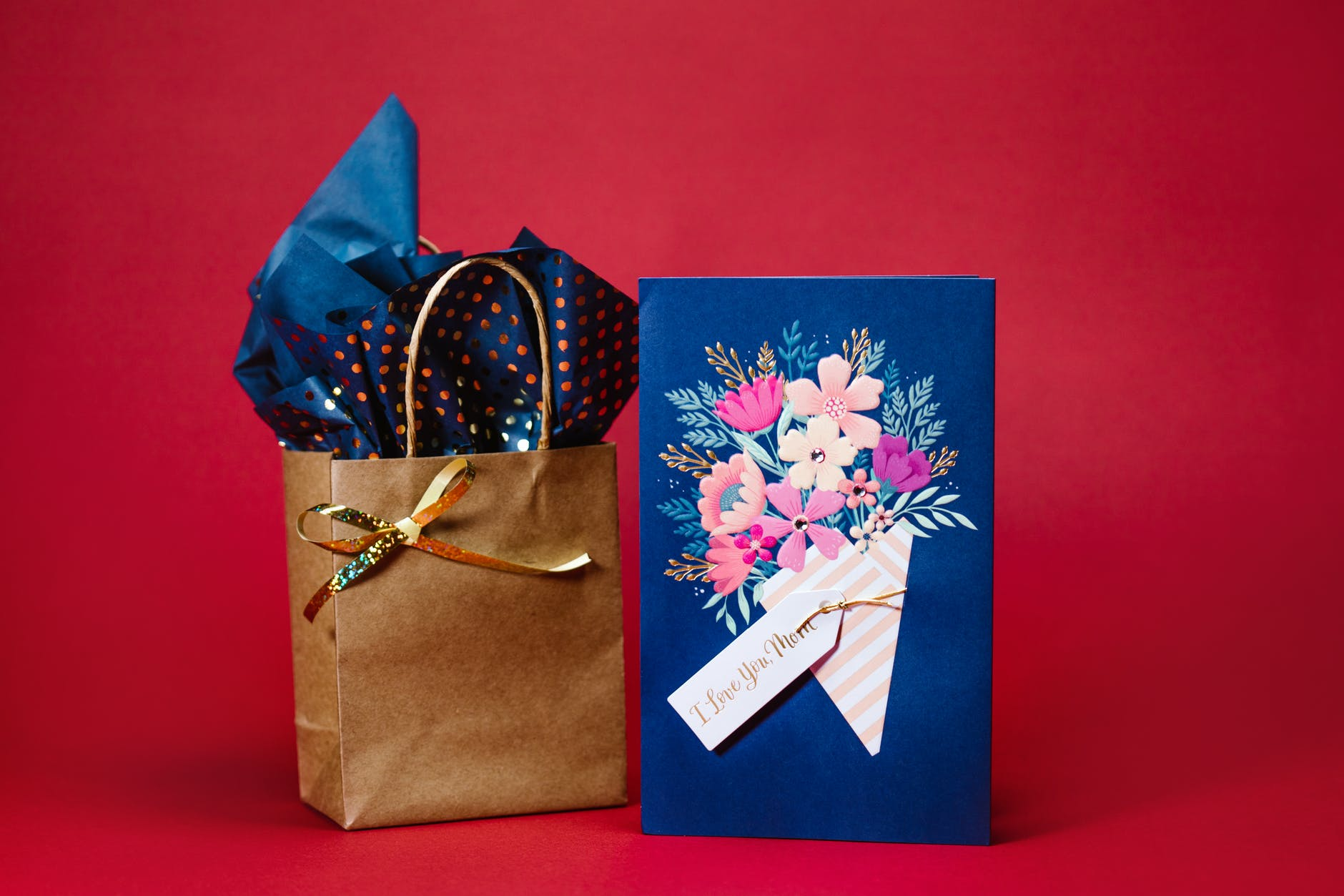 blue and white floral gift box